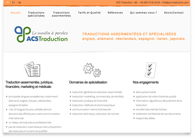 image du site web ACS Traduction